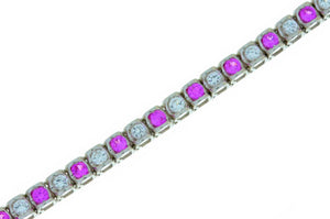 4.3 Ct Pink & White Sapphire Bracelet .925 Sterling Silver Rhodium Finish