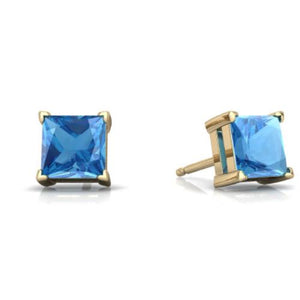 2 Ct Blue Topaz Princess Cut Stud Earrings 14Kt Yellow Gold