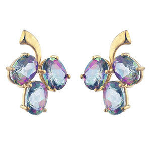 14Kt Yellow Gold Plated Natural Mystic Topaz Oval Design Stud Earrings