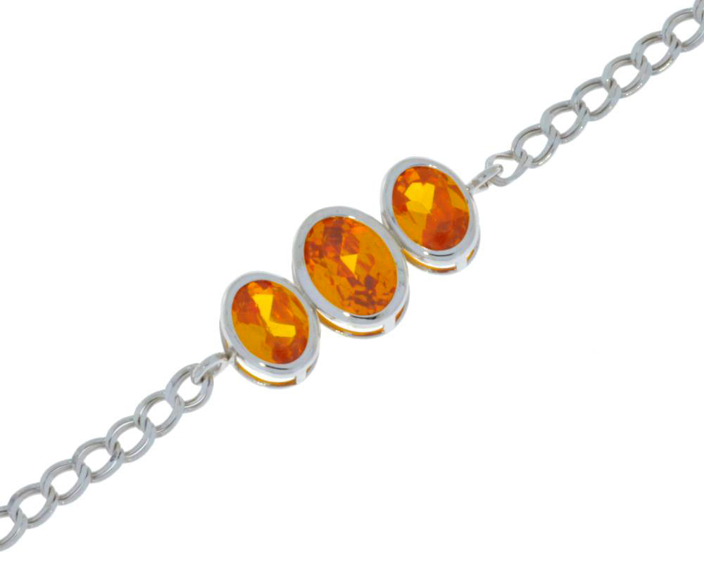 3.5 Ct Orange Citrine Oval Bezel Bracelet .925 Sterling Silver Rhodium Finish