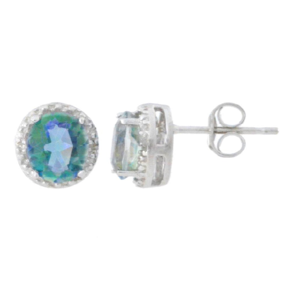 2 Ct Natural Blue Mystic Topaz & Diamond Round Stud Earrings 14Kt White Gold