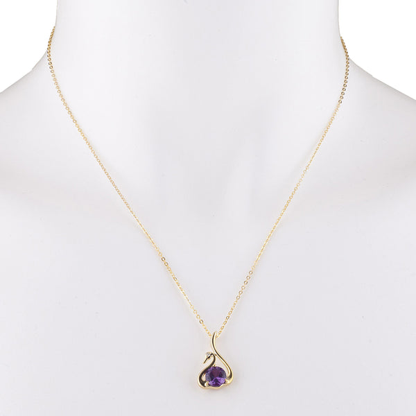 14Kt Yellow Gold Plated Amethyst & Diamond Swan Pendant
