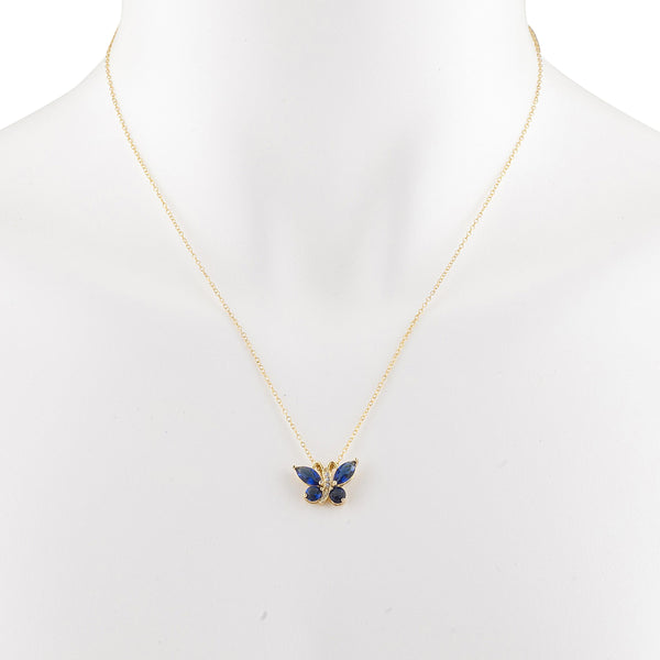 14Kt Yellow Gold Plated Blue Sapphire Butterfly Pendant