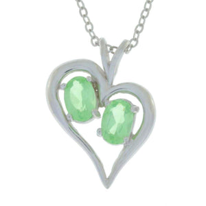 1 Ct Green Sapphire Oval Heart Pendant .925 Sterling Silver