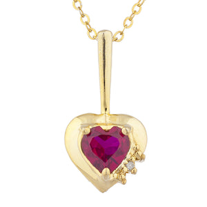 14Kt Gold Created Ruby & Diamond Heart Design Pendant Necklace