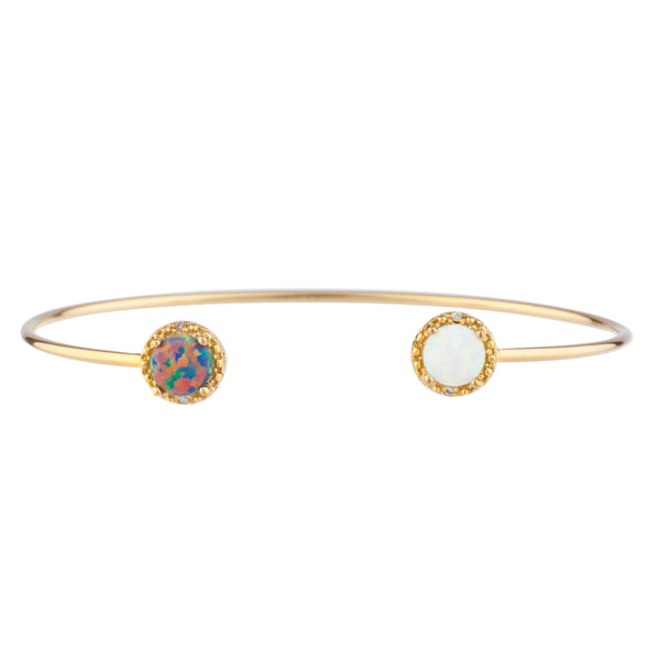 Black Opal & White Opal Diamond Bangle Round Bracelet 14Kt Yellow Gold Plated Over .925 Sterling Silver