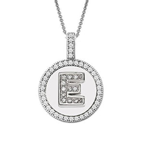 Letter E Micro Pave Initial CZ Pendant .925 Sterling Silver