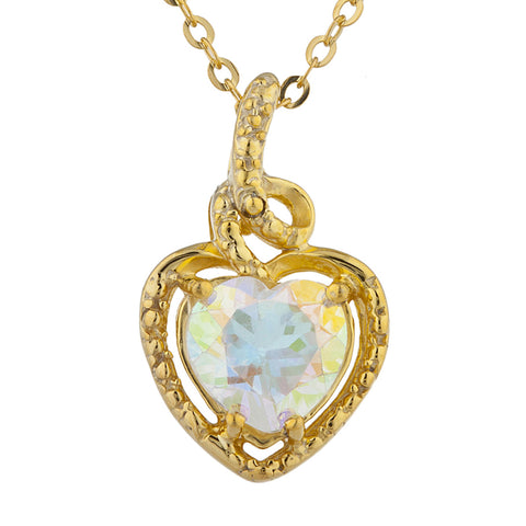 14Kt Gold Natural Mercury Mist Mystic Topaz Heart Design Pendant Necklace