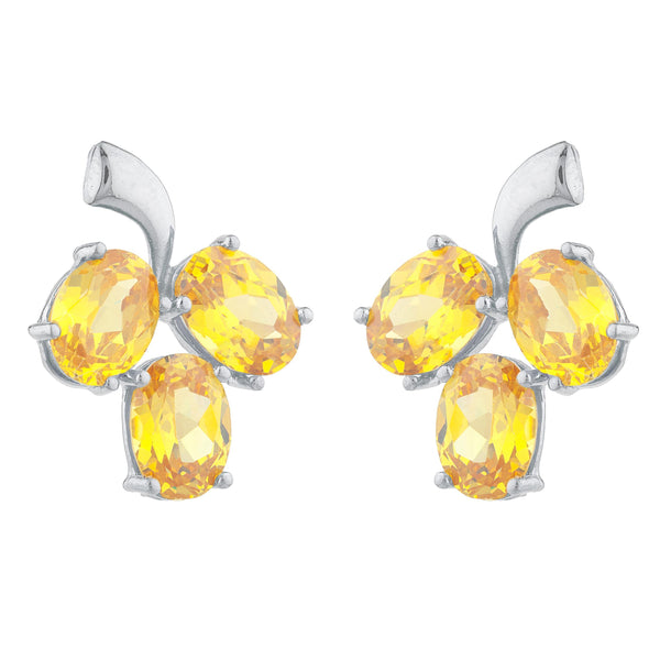 9 Ct Yellow Citrine Oval Design Stud Earrings .925 Sterling Silver
