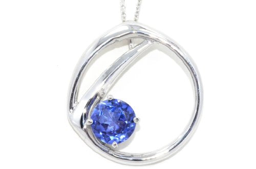 2 Carat Created Blue Sapphire Round Pendant .925 Sterling Silver Rhodium Finish
