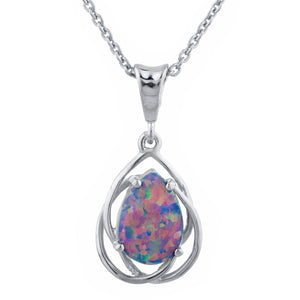 Black Opal Pear Teardrop Design Pendant .925 Sterling Silver