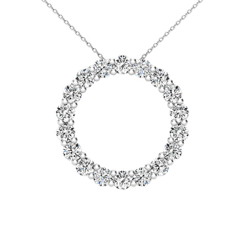 14Kt White Gold 0.40 Ct Genuine Natural Diamond Round Circle Design Pendant Necklace