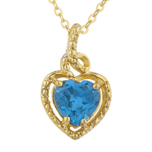 14Kt Gold London Blue Topaz Heart Design Pendant Necklace