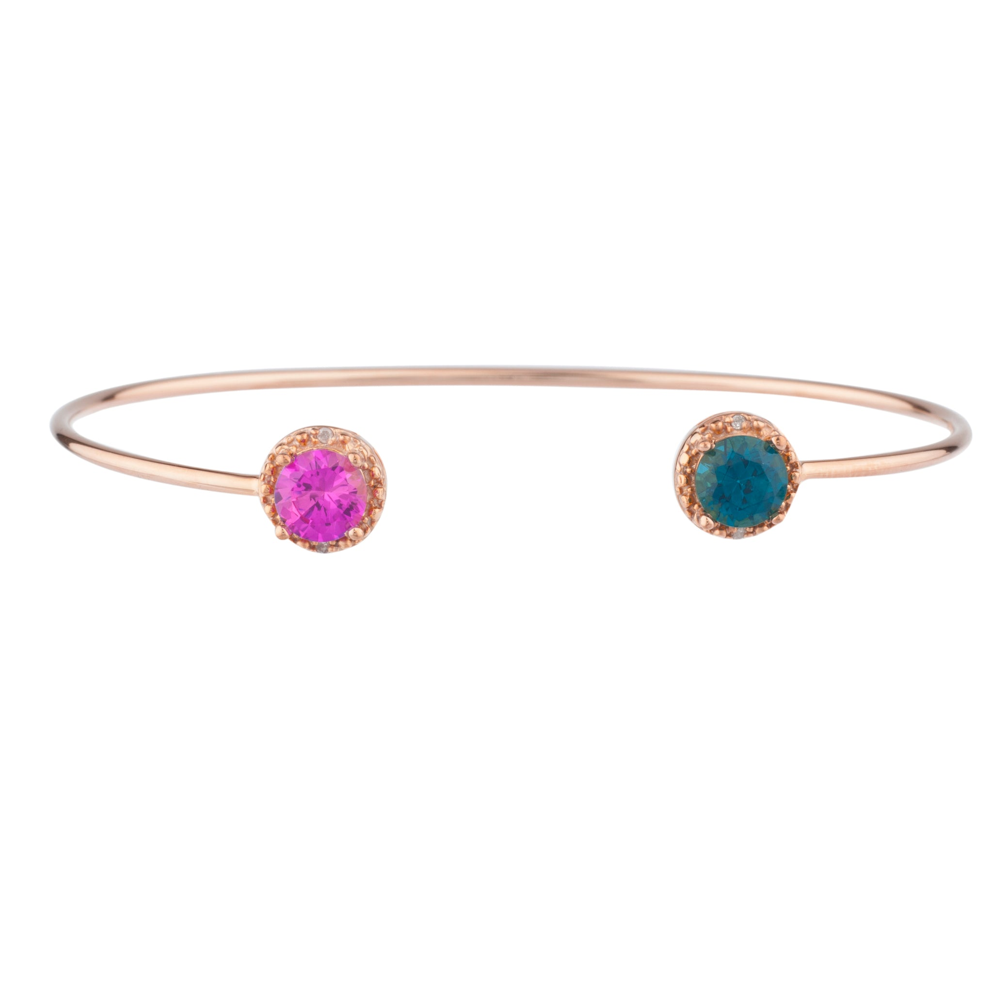 Pink Sapphire & London Blue Topaz Diamond Bangle Round Bracelet 14Kt Rose Gold Plated Over .925 Sterling Silver