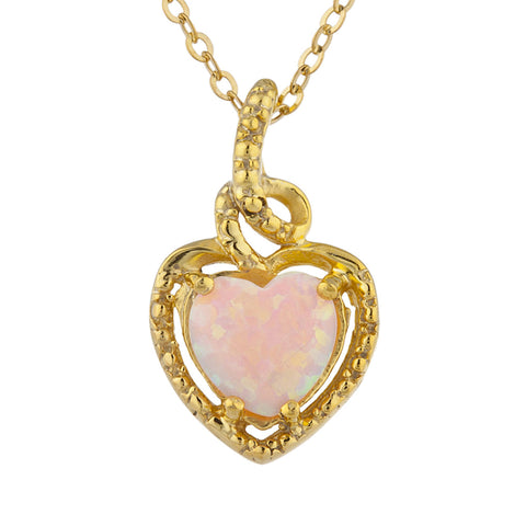 14Kt Gold Pink Opal Heart Design Pendant Necklace