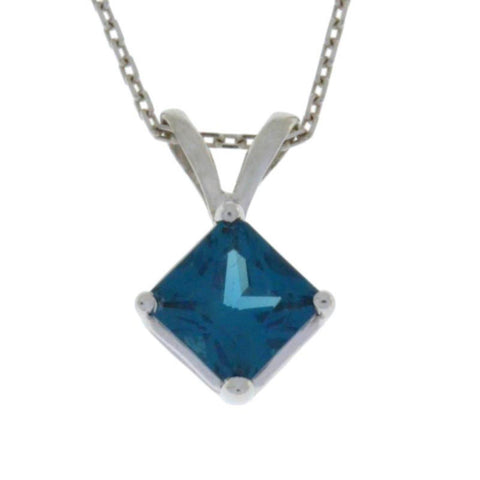 14Kt Gold London Blue Topaz Princess Cut Pendant Necklace