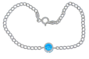 1 Ct Swiss Blue Topaz Round Bezel Bracelet .925 Sterling Silver Rhodium Finish