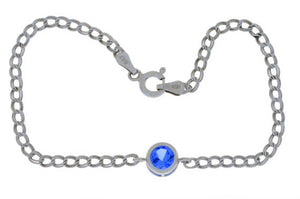 1 Ct Tanzanite Round Bezel Bracelet .925 Sterling Silver Rhodium Finish