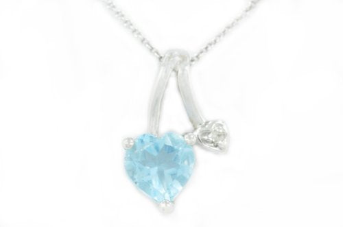 1 Ct Blue Topaz Heart & Diamond Pendant .925 Sterling Silver Rhodium Finish