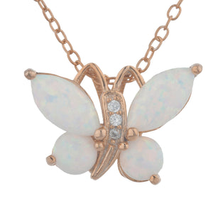 14Kt Rose Gold Plated Opal Butterfly Pendant