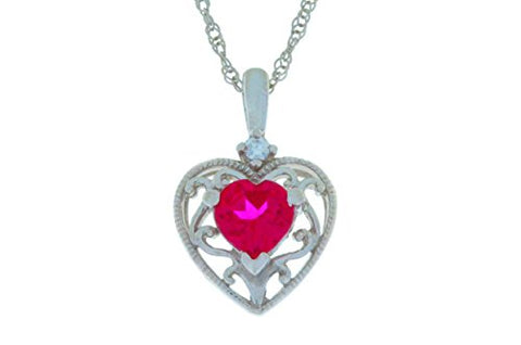 1 Carat Created Ruby Heart Pendant .925 Sterling Silver Rhodium Finish
