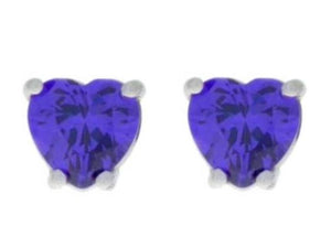 2 Ct Amethyst Heart Stud Earrings .925 Sterling Silver
