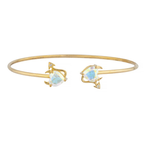 Natural Mercury Mist Mystic Topaz & Diamond Devil Heart Bangle Bracelet 14Kt Yellow Gold Rose Gold Silver
