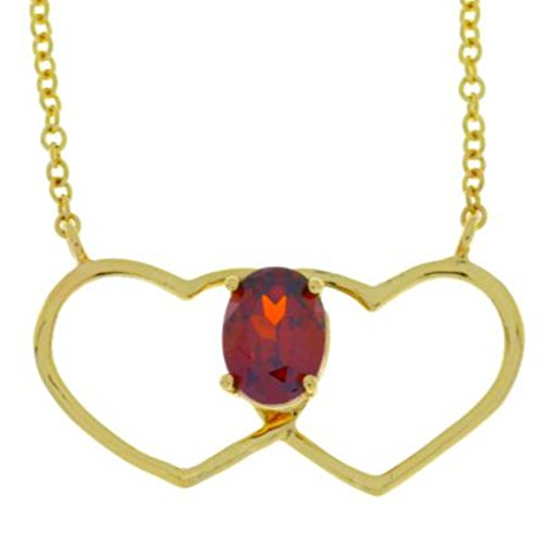 Garnet Oval Heart Pendant 14Kt Yellow Gold Plated Over .925 Sterling Silver