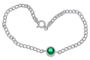1 Ct Created Emerald Round Bezel Bracelet .925 Sterling Silver Rhodium Finish