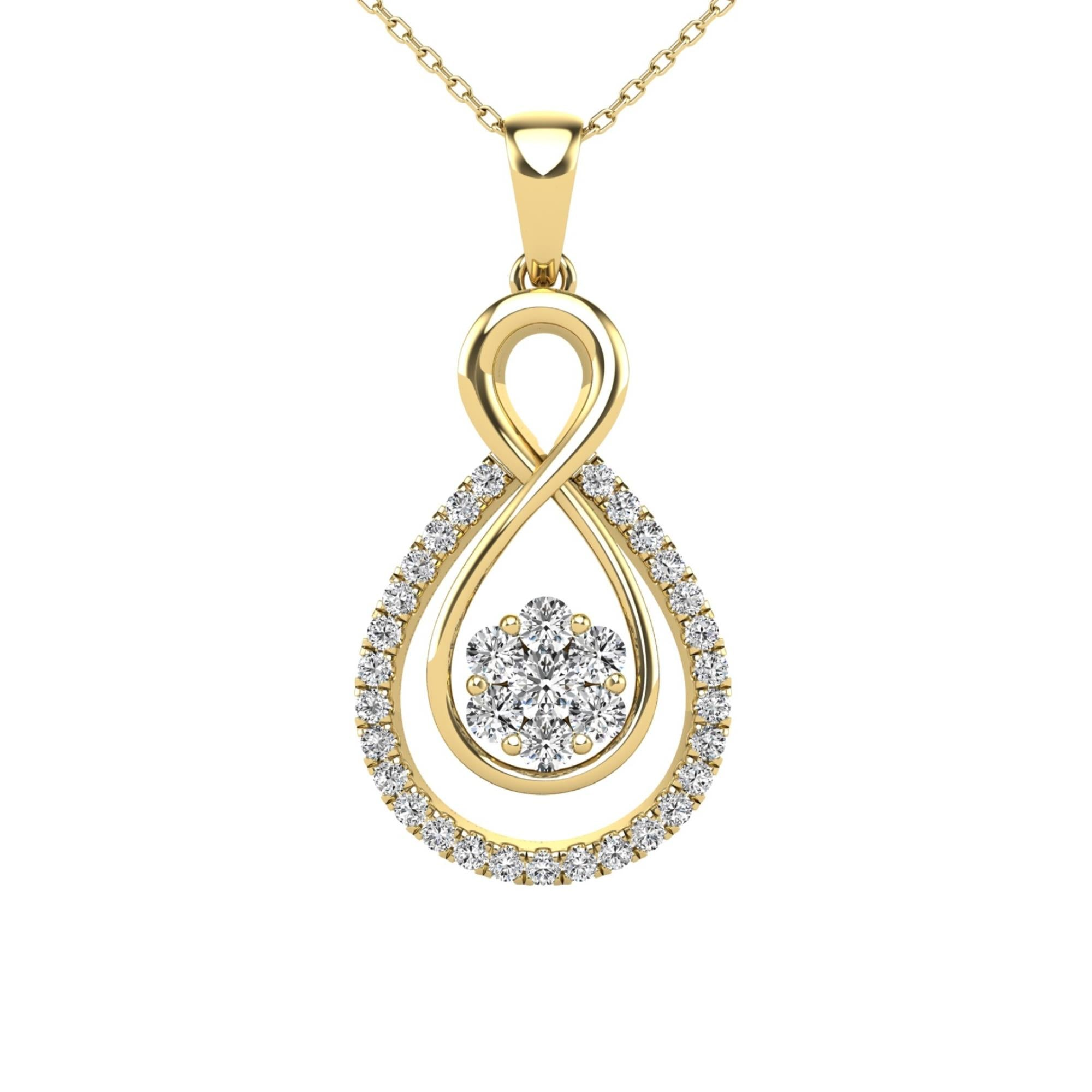14Kt Yellow Gold 0.32 Ct Genuine Natural Diamond Infinity Design Pendant Necklace