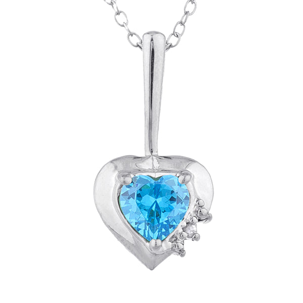 Swiss Blue Topaz & Diamond Heart Pendant .925 Sterling Silver