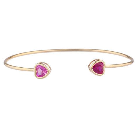 14Kt Gold Created Ruby & Pink Sapphire Heart Bezel Bangle Bracelet
