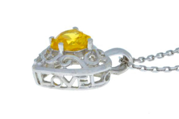 1 Ct Citrine & Diamond Heart Love Engraved Pendant .925 Sterling Silver Rhodium Finish
