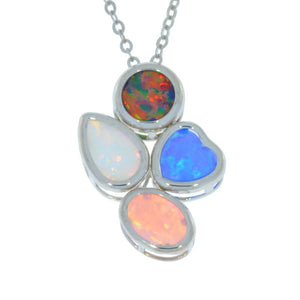 Black Blue Pink & White Opal Round Pear Heart Oval Bezel Pendant .925 Sterling Silver