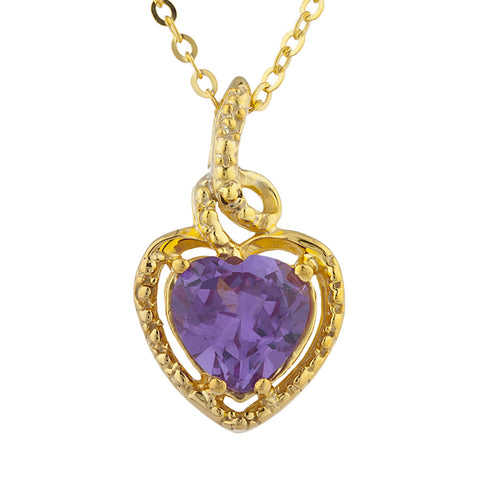 14Kt Gold Alexandrite Heart Design Pendant Necklace