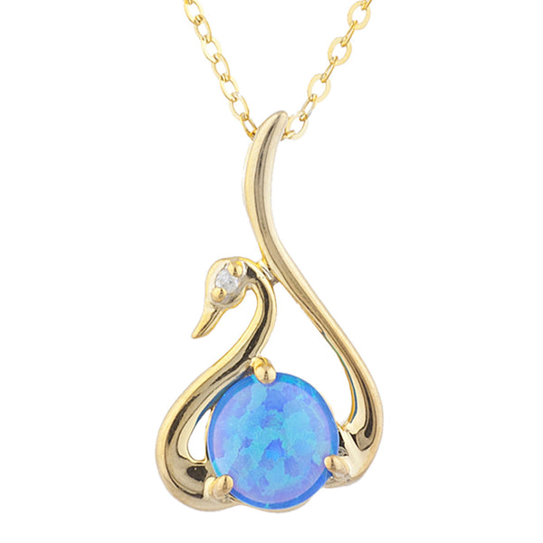 14Kt Yellow Gold Plated Blue Opal & Diamond Swan Pendant