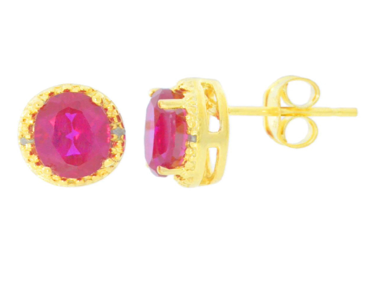 2 Ct Created Ruby & Diamond Round Stud Earrings 14Kt Yellow Gold