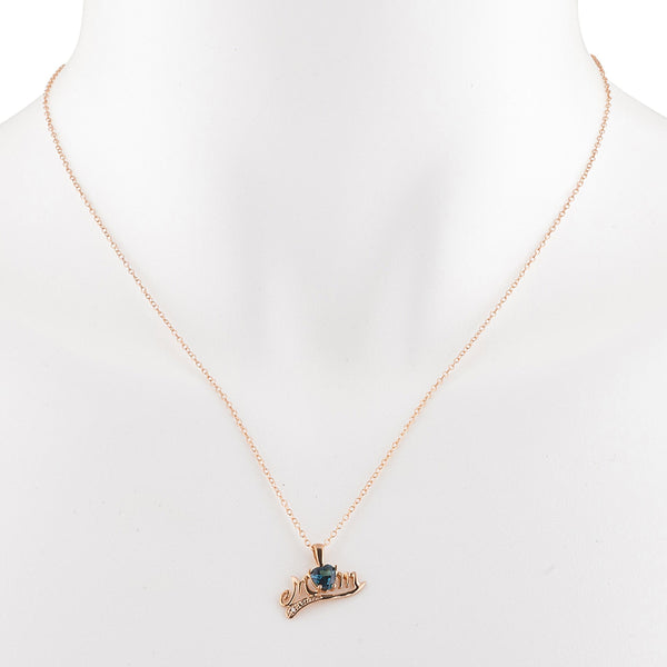 14Kt Rose Gold Plated London Blue Topaz & Diamond Heart Mom Pendant