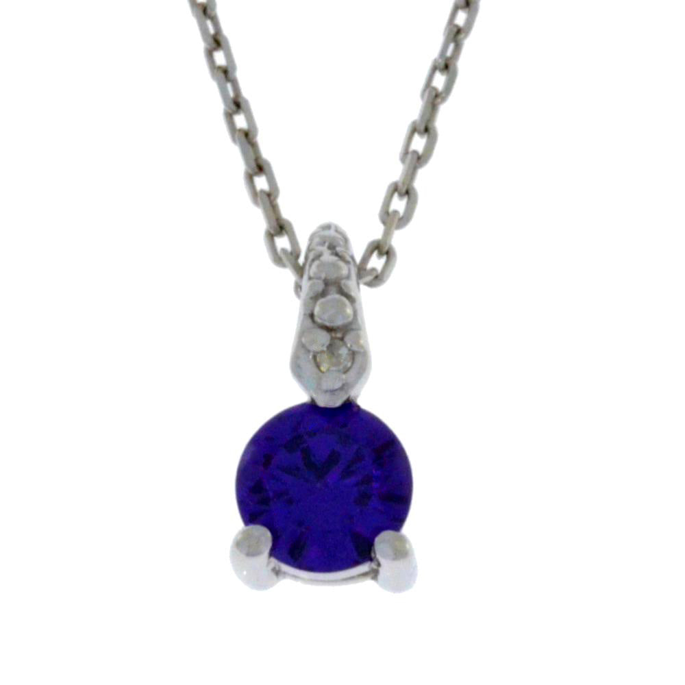 0.50 Ct Amethyst & Diamond Round Pendant .925 Sterling Silver Rhodium Finish