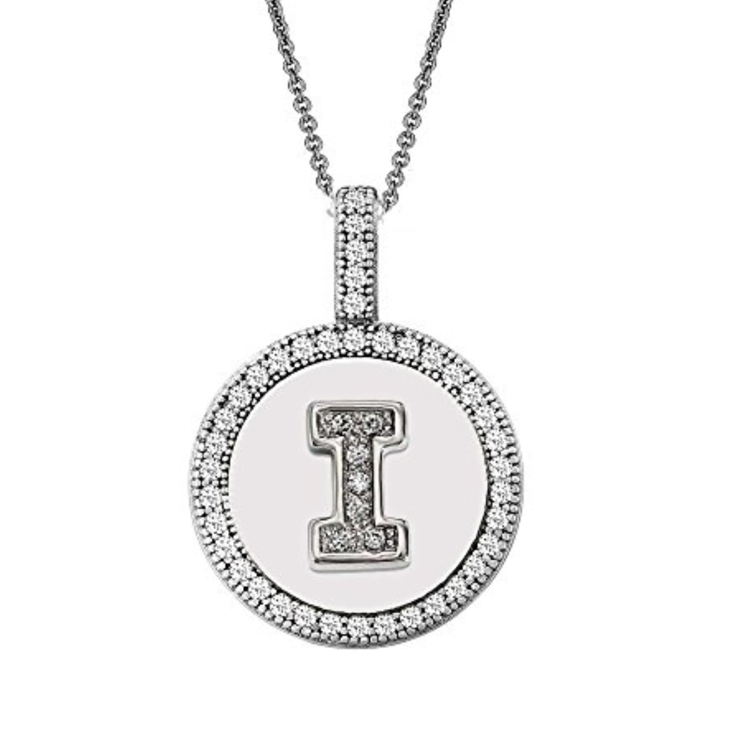 Letter I Micro Pave Initial CZ Pendant .925 Sterling Silver