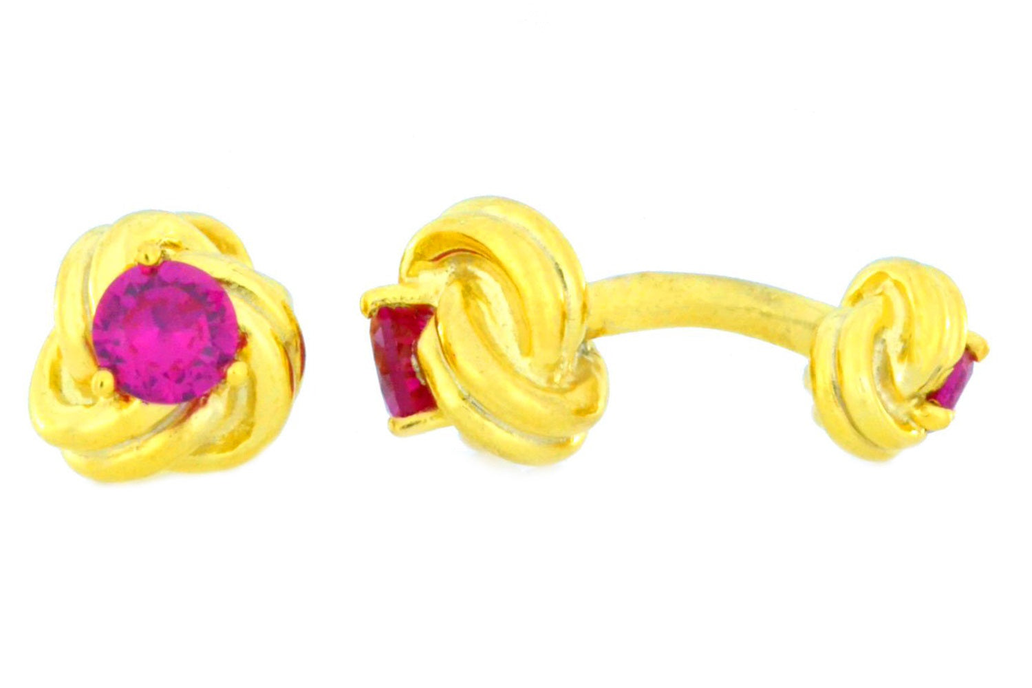 14Kt Yellow Gold Plated Ruby Knot Cufflinks