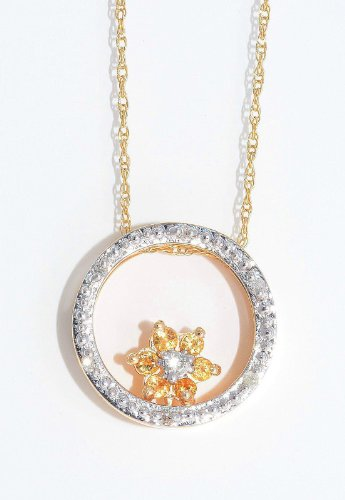 Citrine & Diamond Round Pendant 14Kt Yellow Gold Plated