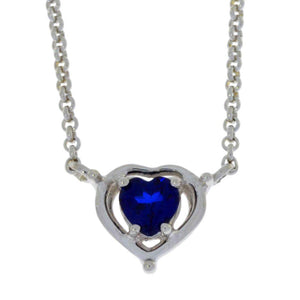 0.50 Ct Blue Sapphire Heart Pendant .925 Sterling Silver