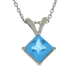 14Kt Gold Blue Topaz Princess Cut Pendant Necklace
