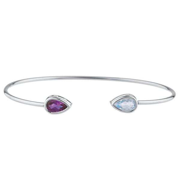 Aquamarine & Amethyst Pear Bezel Bangle Bracelet .925 Sterling Silver