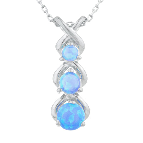 Blue Opal Round Past Present Future Pendant .925 Sterling Silver