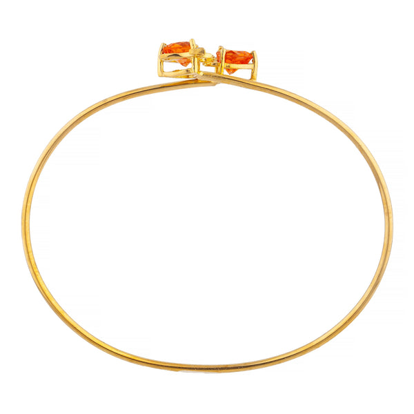 14Kt Gold Orange Citrine & Diamond Devil Heart Bangle Bracelet