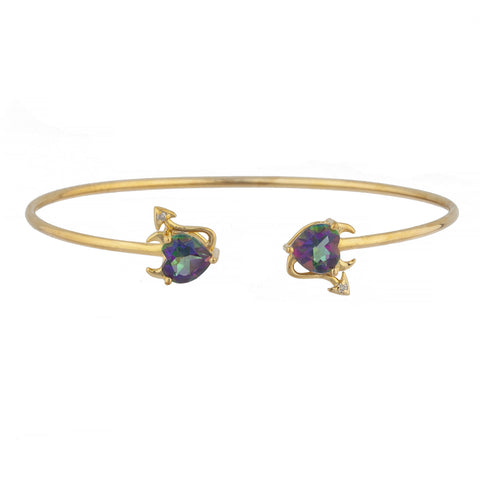 Natural Mystic Topaz & Diamond Devil Heart Bangle Bracelet 14Kt Yellow Gold Rose Gold Silver
