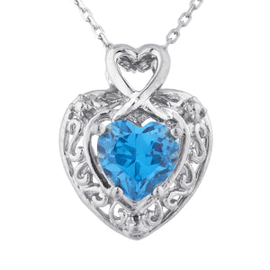 1.5 Ct London Blue Topaz Heart Design Pendant .925 Sterling Silver