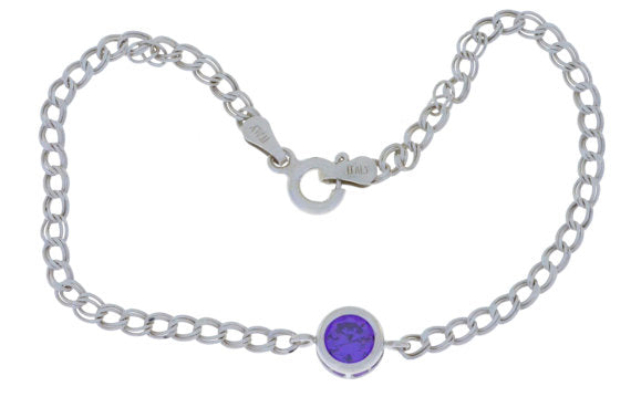 1 Ct Amethyst Round Bezel Bracelet .925 Sterling Silver Rhodium Finish [Jewelry]